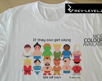 Street Fighter If They Can Get Along Tee - SF Capcom Vector T-Shirt - Ryu Ken Chun Li Sagat by Rev-Level