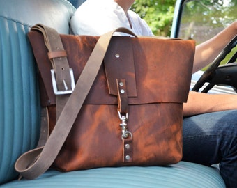 Distressed Leather Cross-Body Satchel No. 11
