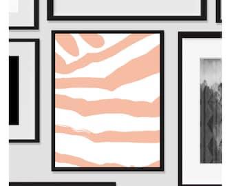 Abstract Zebra, Wall Art, Artwork, Home Decor, Modern Print, Print Art, Instant Download, Pink, Nursery, Baby, Digital Print