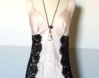 Vintage 100% Silk Blush Pink and Black Lace Sheer Boudoir, Burlesque Style Lingerie Slip, Great Gatsby, Art Deco