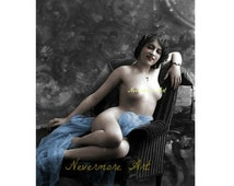 On Sale- Mature Enhanced Altered Erotic Woman Photo Lady Risque Nude Instant Download Vintage Art Printable Print  Erotic Photography Photo