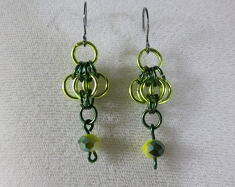 chainmaille earrings, yellow green chainmaille, chainmaille butterfly earrings, butterfly earrings, yellow green butterfly  czech beads