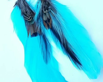 Teal and brown feather earrings