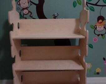 Stackable shelf / kids furniture / Kid's Bookshelf / Puzzle / Kid's Bookcase / Stackable Bookcase / Unfinished / Bookshelf