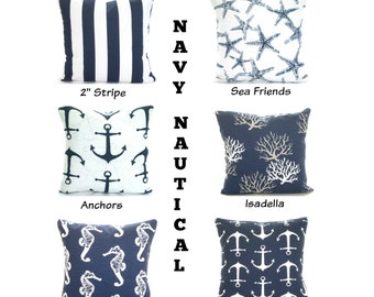 Navy Blue Nautical Pillow Covers Navy Cushions Decorative COTTON Throw Pillows Stripe Starfish Beach Decor One or More Mix & Match All Sizes