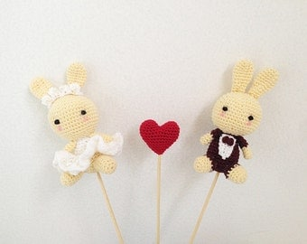 Cake Toppers - Bunny Wedding Cake Topper - Rabbit Cake Topper - Wedding Cake Topper - Bride and Groom Cake Topper - Crochet Cake Topper