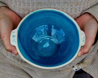 Custom names on bowl, Ocean blue bowl personalized bowl soup bowl with handles names on pottery cereal bowl serving bowls handmade pottery