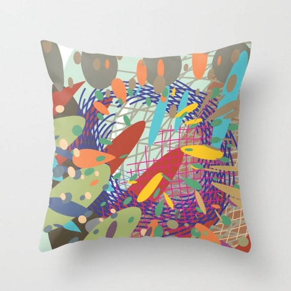 Modern Art Pillow : Abstract art pillow Modern art red blue green decorative