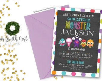 Little Monster Birthday Invitation DIY PRINTABLE Customizable Digital Prints