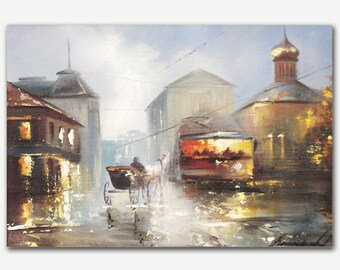 Oil painting on canvas Arbat modern painting by Alena Ramanava Fine art painting Wall art oil painting