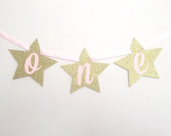 Pink and Gold Stars Highchair Banner / ONE highchair banner / pink and gold highchair banner / twinkle twinkle little star banner