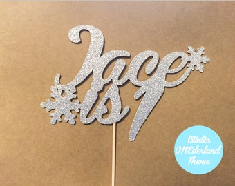 First Birthday Cake Topper / Winter Onederland cake topper / Snowflakes Cake Topper