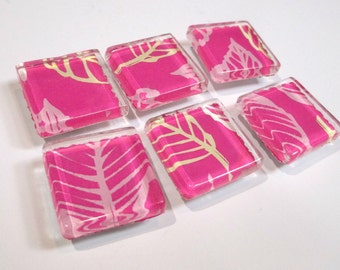 6pc Magnet set, Pink Leaf design, square glass topped magnets