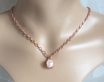 Rose Gold Plated Fresh Water Pearl. Delicate Pearl Choker. June Birthday Gift Idea.