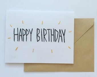 Hand Embroidered Greeting Card - 'Happy Birthday'.