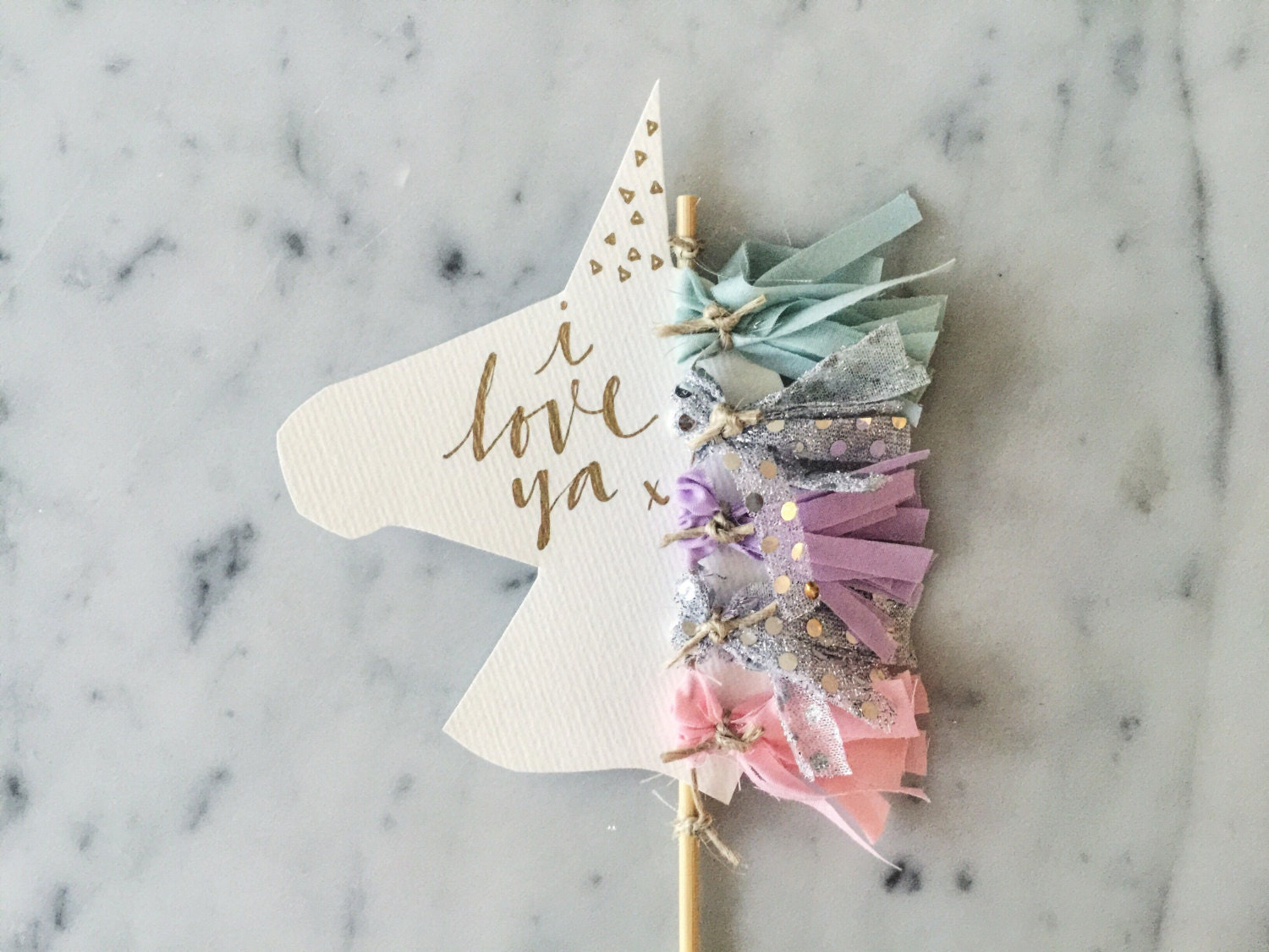 Unicorn cake topper gold modern calligraphy custom hand