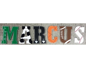 Sports Themed Hand Painted Wooden Letters Wall Decor