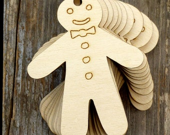 10x Wooden Ginger Bread Man Craft Shapes 3mm Plywood Cooking Pudding Biscuits