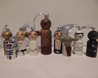 Star Wars like peg people ornaments