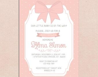 Digital Baby Shower Invitation Pink Bow Dot Shabby Printable Customizable