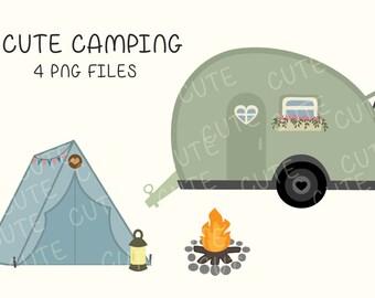 Kawaii Cute Camping Camp Tent Van Clipart Clip Art Digital Scrapbook Instant Download Printable Invitation Card Birthday PNG