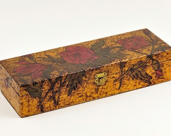 Pyrography Box , Floral Design