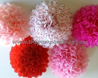 5 large Pom Pom Valentine / 5 large paper poms St. Valentine