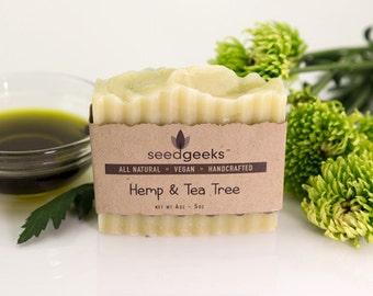 Hemp & Tea Tree Handcrafted Soap - All Natural Soap, Shampoo Bar, Handmade Soap, Vegan Soap, Cold Process Soap