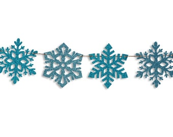 Snowflake garland, Snowflake Banner, Holiday Banner, Christmas decoration, Christmas Glitter Garland