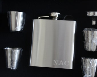 Groomsmen Gift, Engraved Hip Flask, Groomsmen Flask, Personalized Flask Set, Custom Flask, Monogrammed Flask, Gifts for Groomsmen