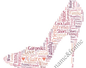 Personalised Stiletto Shoe Word Art Print
