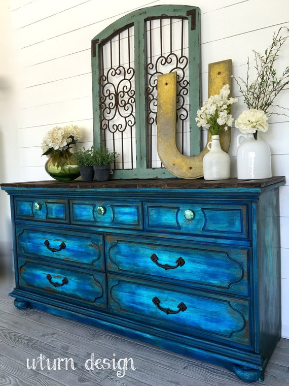 Items Similar To Sold Colbalt Blue Painted Dresser