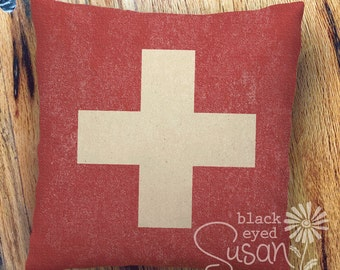 "Distressed Swiss Flag Pillow Cover of Natural 100% Cotton Canvas or Lined Burlap | 12"" x 12"", 16"" x 16"", or 20"" x 20"""