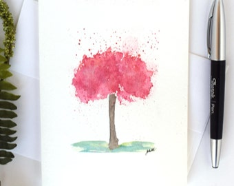 Watercolor Greeting Cards, Abstract Tree, Number Code 27