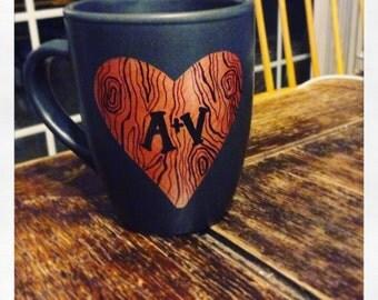 Coffee Mug- Couples Initials Tree Heart Design
