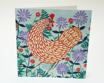 Brown Chicken Among Lilac Flowers Greeting Card