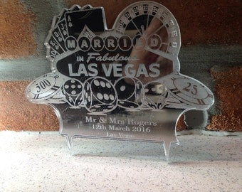 Personalised LAS VEGAS wedding cake topper