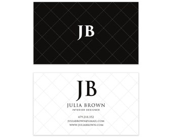 Black & White Dotted Business Card Design - Classic Business Card - Premade Business Card - Printable Business - Calling Card Graphic Design
