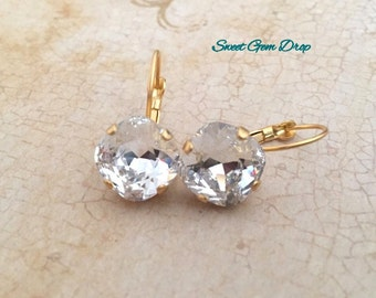 Swarovski Clear Crystal Cushion Earrings, Matte Yellow Gold, 12mm, Wedding, Drop earrings, Crystal Leverback Earrings, Swarovski Jewelry