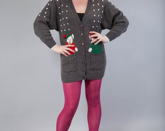 Vintage oversize Cardigan - let it snow
