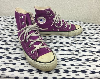 Vintage 80's Made in USA Converse Chuck Taylor Purple Canvas Shoes 3.5 5.5