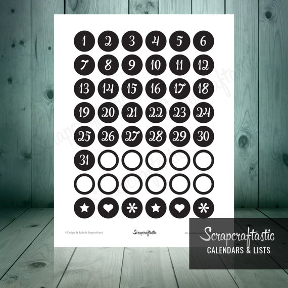Planner Pro Black DIY Calendar, List and Monthly Challenge Numbered Printable Planner Stickers for paper planners, binders, inserts