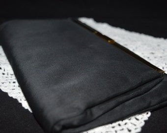 Black Satin Clutch / handbag / clutch / evening bag / black / gold trim / Peck & Peck / New York / vintage handbag / vintage clutch