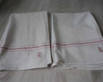 French vintage set of two metis linen tea towel / torchon  (00699)