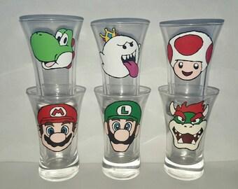 set of 6 handpainted super mario bros shot glasses.