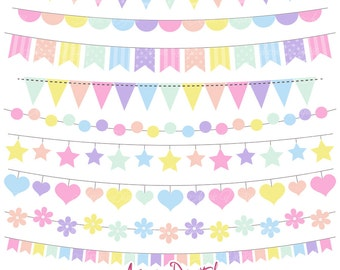 Pastel Rainbow Bunting Banner Clipart. Scrapbook printable, Vector banners .eps. Colorful Party Clip art, New Baby flag banner