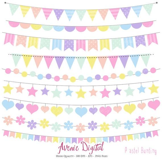 pastel rainbow bunting banner clipart scrapbook printable vector