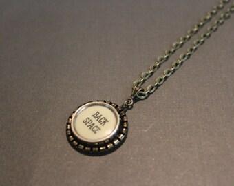 "Vintage Typewriter Key - ""Backspace"" - Necklace - Antique Bronze. Gift for Writer."
