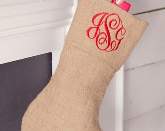 Burlap Monogrammed Christmas Stockings - Family Stockings - Christmas Stocking Personalized -  Personalized Stocking