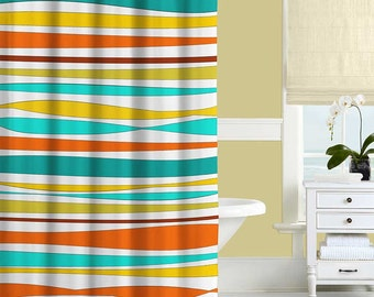 Colorful Shower Curtain  Turquoise  Teal  Orange  Yellow  Striped Shower  Curtain Orange Shower Curtain Yellow and Red Bathroom Decor Bath. Yellow And Teal Shower Curtain. Home Design Ideas